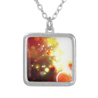 Bold & Chic Peach Red Yellow Watercolor Abstract Silver Plated Necklace
