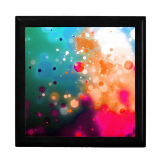 Bold & Chic Pink Orange Blue Watercolor Abstract Large Square Gift Box
