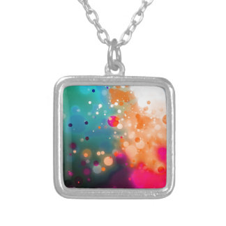 Bold & Chic Pink Orange Blue Watercolor Abstract Silver Plated Necklace