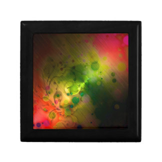 Bold & Chic Red and Green Watercolor Abstract Small Square Gift Box