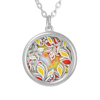Bold & Chic Red and Yellow Floral Watercolor Abstr Silver Plated Necklace