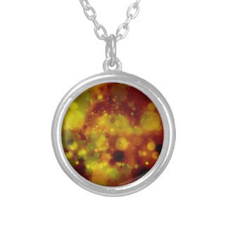 Bold & Chic Red and Yellow Watercolor Abstract Silver Plated Necklace