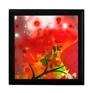 Bold & Chic Red Tulip Watercolor Abstract Large Square Gift Box
