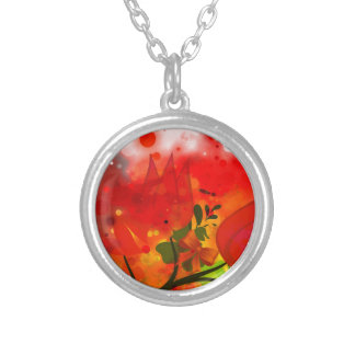 Bold & Chic Red Tulip Watercolor Abstract Silver Plated Necklace