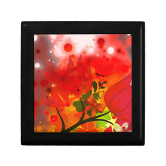 Bold & Chic Red Tulip Watercolor Abstract Small Square Gift Box