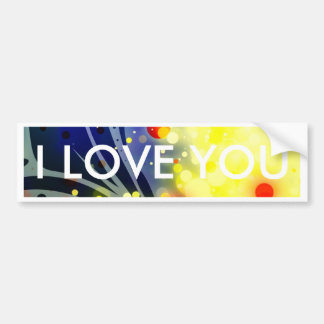 Bold & Chic Red Yellow Blue Watercolor Abstract Bumper Sticker