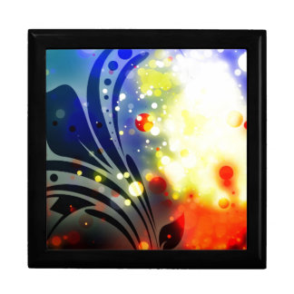 Bold & Chic Red Yellow Blue Watercolor Abstract Large Square Gift Box