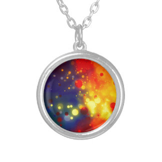 Bold & Chic Red Yellow Blue Watercolor Abstract Silver Plated Necklace