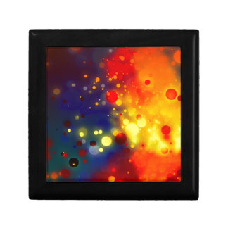 Bold & Chic Red Yellow Blue Watercolor Abstract Small Square Gift Box