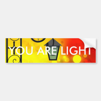 Bold & Chic Red Yellow Lamp post Watercolor Bumper Sticker