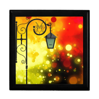Bold & Chic Red Yellow Lamp post Watercolor Large Square Gift Box