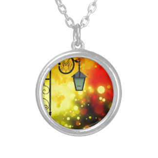 Bold & Chic Red Yellow Lamp post Watercolor Silver Plated Necklace