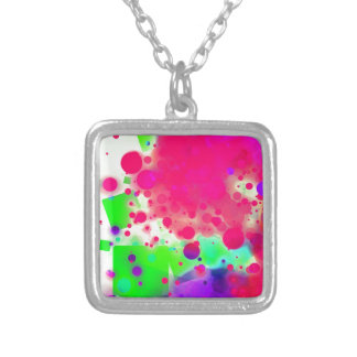 Bold & Chic SQUARE & CIRCLES Watercolor Abstract Silver Plated Necklace