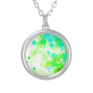 Bold & Chic Teal Green Watercolor Abstract Silver Plated Necklace