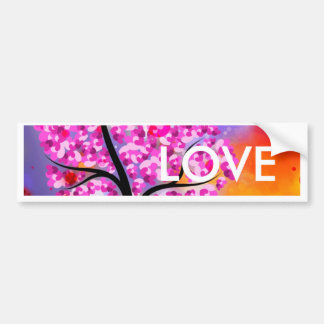 Bold & Chic Tree of Hearts Watercolor Abstract Bumper Sticker