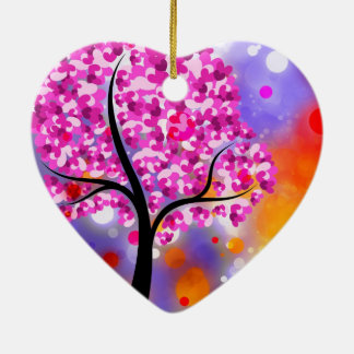 Bold & Chic Tree of Hearts Watercolor Abstract Ceramic Heart Decoration