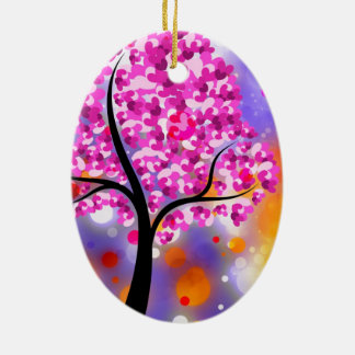 Bold & Chic Tree of Hearts Watercolor Abstract Ceramic Oval Decoration