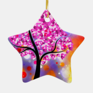 Bold & Chic Tree of Hearts Watercolor Abstract Ceramic Star Decoration