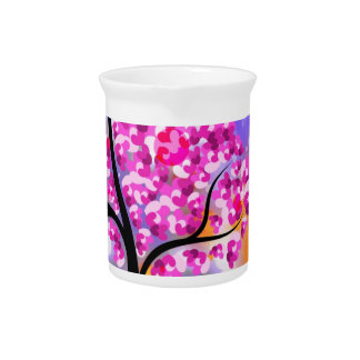 Bold & Chic Tree of Hearts Watercolor Abstract Pitcher