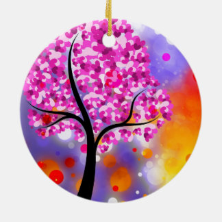 Bold & Chic Tree of Hearts Watercolor Abstract Round Ceramic Decoration
