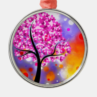 Bold & Chic Tree of Hearts Watercolor Abstract Silver-Colored Round Decoration