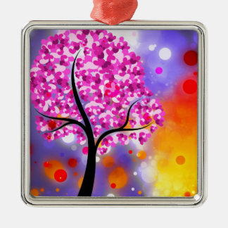 Bold & Chic Tree of Hearts Watercolor Abstract Silver-Colored Square Decoration