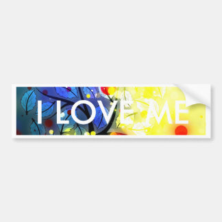 Bold & Chic Tree Red Yellow Watercolor Abstract Bumper Sticker