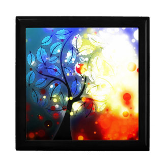 Bold & Chic Tree Red Yellow Watercolor Abstract Large Square Gift Box