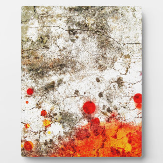 Bold & Chic Wood Red Yellow Watercolor Abstract Photo Plaque
