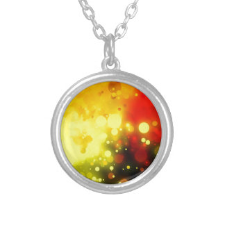 Bold & Chic Yellow and Red Watercolor Abstract Silver Plated Necklace