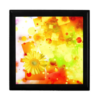 Bold & Chic Yellow Flower Watercolor Abstract Large Square Gift Box
