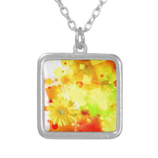 Bold & Chic Yellow Flower Watercolor Abstract Silver Plated Necklace