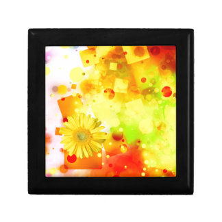 Bold & Chic Yellow Flower Watercolor Abstract Small Square Gift Box