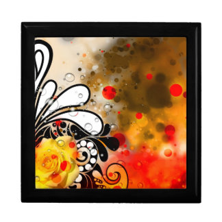 Bold & Chic Yellow Rose Red Watercolor Abstract Large Square Gift Box