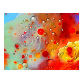 Bold & Chic Yellow Rose Red Watercolor Abstract Postcard