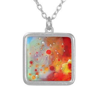 Bold & Chic Yellow Rose Red Watercolor Abstract Silver Plated Necklace