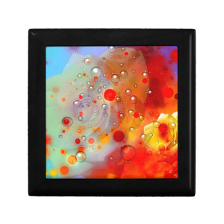 Bold & Chic Yellow Rose Red Watercolor Abstract Small Square Gift Box