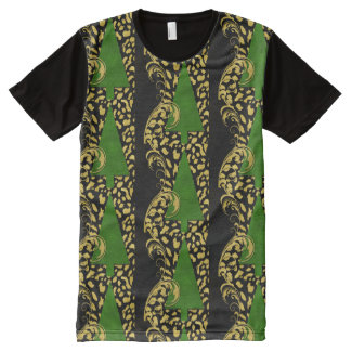 Bold Christmas Trees on Black with Gold Swirls All-Over Print T-Shirt