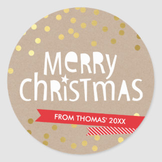 BOLD CHRISTMAS TYPOGRAPHY cool gold confetti kraft Round Sticker