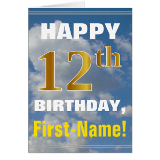 Bold, Cloudy Sky, Faux Gold 12th Birthday + Name Card