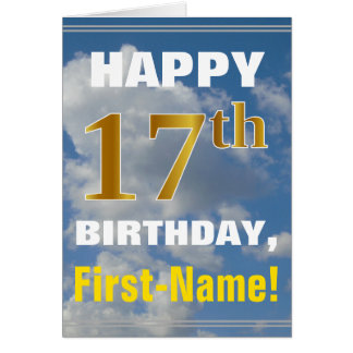 Bold, Cloudy Sky, Faux Gold 17th Birthday + Name Card