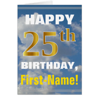 Bold, Cloudy Sky, Faux Gold 25th Birthday + Name Card
