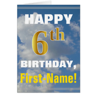 Bold, Cloudy Sky, Faux Gold 6th Birthday + Name Card