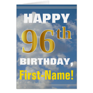 Bold, Cloudy Sky, Faux Gold 96th Birthday + Name Card
