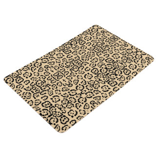 Bold Coffee Leopard Animal Cat Print Brown Floor Mat