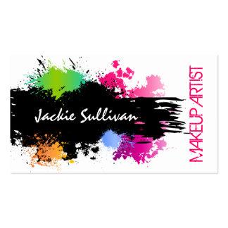 Bold Color Splash Makeup Artist Business Cards