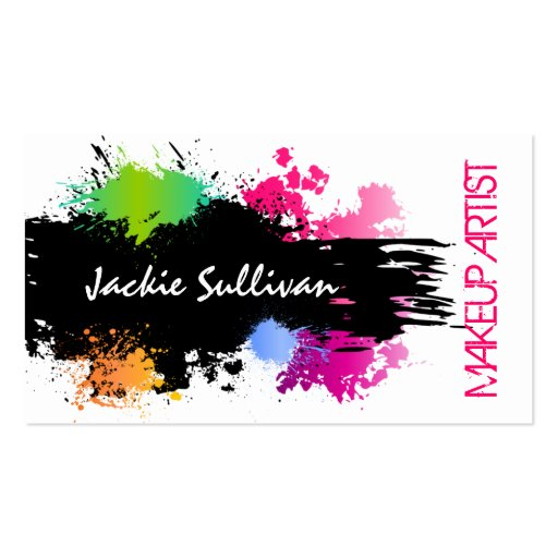 Bold Color Splash Makeup Artist Business Cards