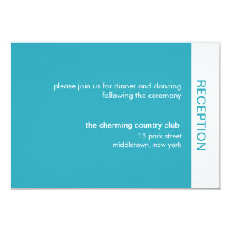 Bold Color Wedding Reception Cards - Turquoise