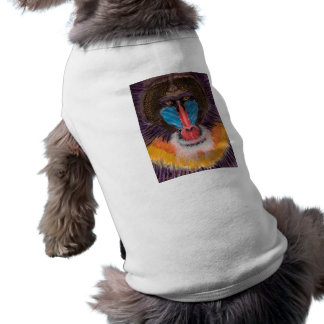 Bold Colored Baboon Face in Contemporary Style Sleeveless Dog Shirt
