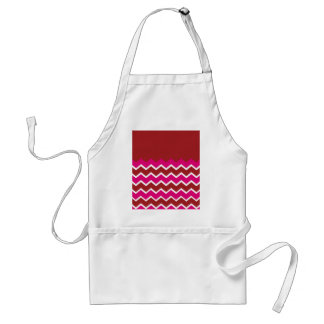 Bold Colorful Chevron Zigzag Pattern Red Hot Pink Adult Apron